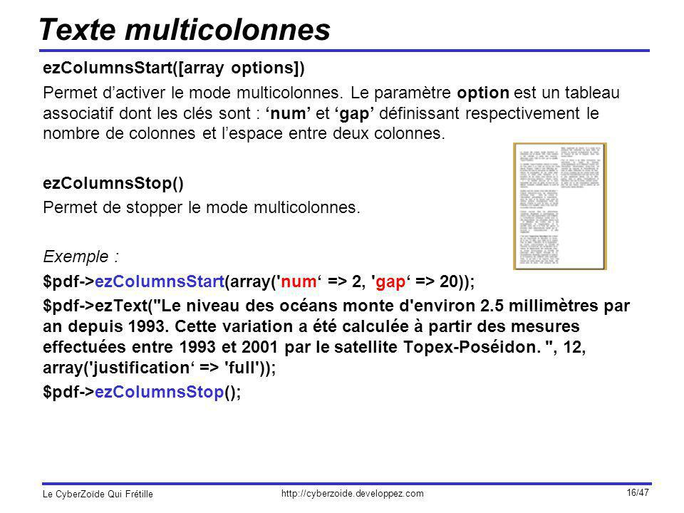 Texte multicolonnes ezColumnsStart([array options])